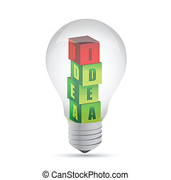 Light bulb Drawing idea cubes, illustration