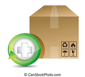medical shipping box illustration design