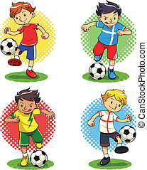 Soccer Boys - Soccer player boys with different uniforms...