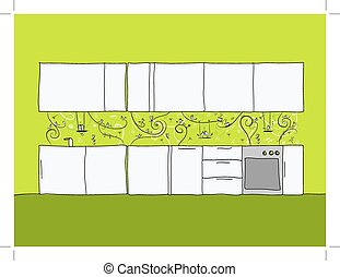 Design of kitchen wall with funny birds and cats