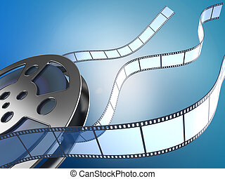 movie reel and filmstrips - film reel and filmstrips on blue...