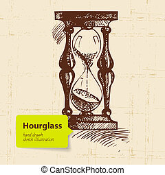 Vintage clock hourglass. Hand drawn illustration