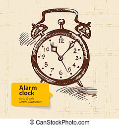 Vintage alarm clock. Hand drawn illustration