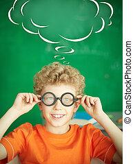 Schoolboy in eyeglasses - Portrait of happy schoolboy in...