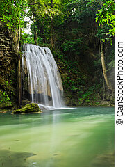Tropical rainforest waterfall in Kanchaburi, Thailand