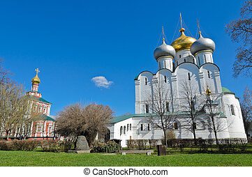 Novodevichy Convent in Moscow, Russia. Cathedral of Our Lady...