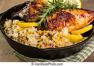 Lemon chicken with rice and roasted corn - Cast iron skillet...