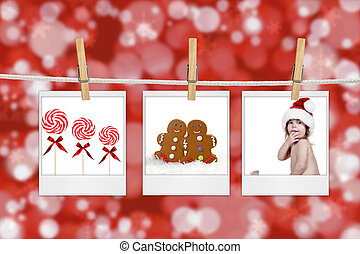 Christmas Images Hanging from a Rope