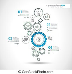 Infographic design template with gear chain Ideal to display...