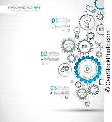 Infographic design template with gear chain. Ideal to...