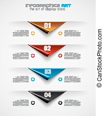 Infographic design template with paper tags Ideal to display...