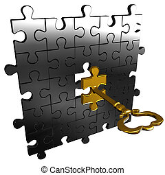 Puzzle key - Abstract render of silver puzzle and gold...