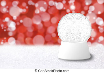 Empty Christmas Snow Globe With Blue Holiday Background....