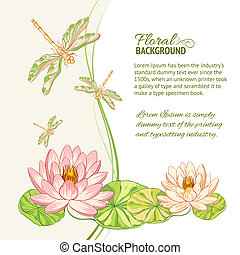 Watercolor label of lotus and dragonfly. Vector...