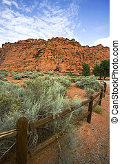 Hiking Path in Snow Canyon with Rails in the Image - Utah -...