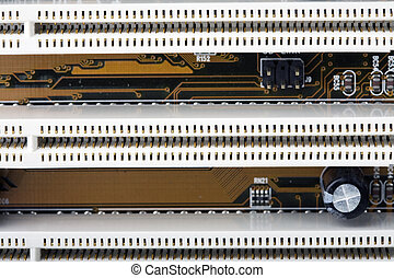 PCI Slots - Close-up of section of a computer motherboard...