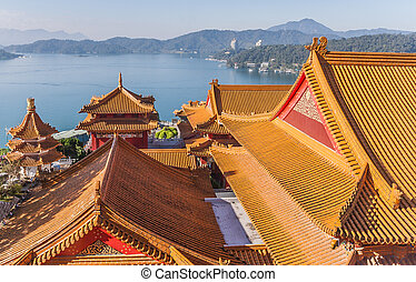 Wenwu temple at Sun Moon Lake, Taiwan - View from the top of...