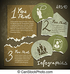 set of infographics from torn pieces of paper in vintage...