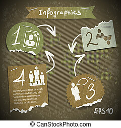 infographics with torn pieces of paper in vintage style scrapbooking