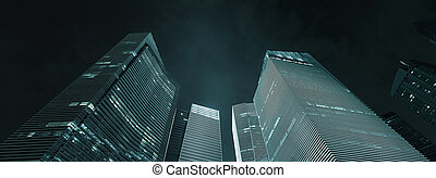 Office buildings exterior at night. Modern skyscrapers a sample of business architecture