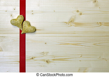 A thought for a special occasion, hearts on a red ribbon