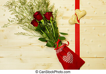 A thought for a special occasion, hearts with bunch of rose...