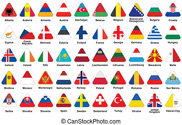 triangle icons with European flags