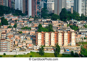 Shanty town in Sao Paulo city - Scenic view of shanty town...