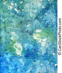 Teal and Blue Abstract Art