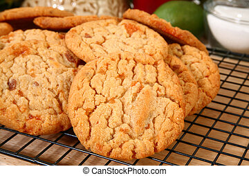 Buttery, Brittle, Candy Chip Cookies - Close-up of cookies...
