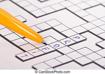 Blank Crossword Puzzle with Pen and Profit Text - Close up...