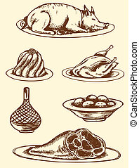 Hand drawn food - Set of vector vintage hand drawn food
