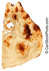 Naan - Indian bread over white background.  Naan.