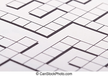 Blank Crossword Puzzle - Close up of blank square crossword...
