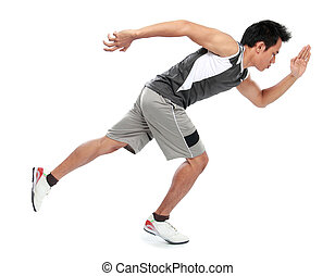 Young athlete man - portrait of young athlete running viewed...