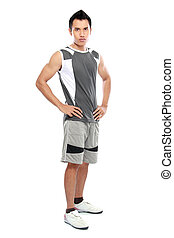 fitness male model - portrait of fitness male model with...