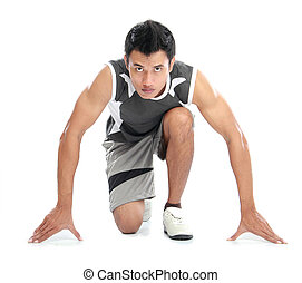 young sport man - A view of a male athlete ready to run