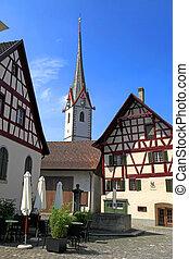 Stein am RheinSwitzerland - Medieval buildings and St George...