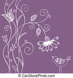 Doodle flowers with swirls and bird - Illustration of doodle...