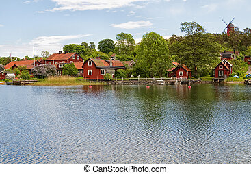 Stockholm archipelago village. - Fishing village with old...