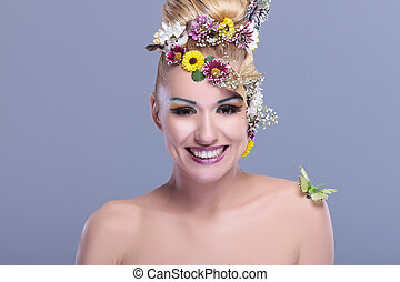 beauty woman with floral make up