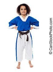Young confident karate kid posing - Young karate fighter...