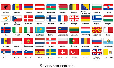 European flags icons - set of European flags icons with...
