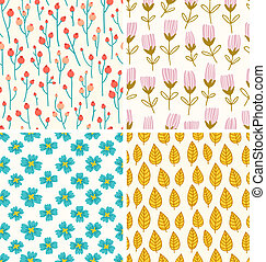 Berries and flowers seamless patterns set
