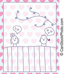 meeting and love card - cheerful card. two cute little birds...