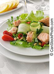 Salmon salad - Vegetable salad with boiled salmon and pine...