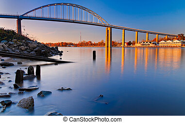 Bridge over canal, Maryland - Evening long exposure of the...