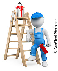3D white people Painter with ladder - 3d white person...