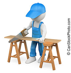 3D white people Carpenter cutting wood with a handsaw - 3d...