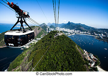 The cable car to Sugar Loaf in Rio de Janeiro, Brazil